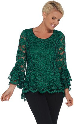 Isaac Mizrahi Live! Bi-Color Lace Knit Top with Tiered Bell Sleeves