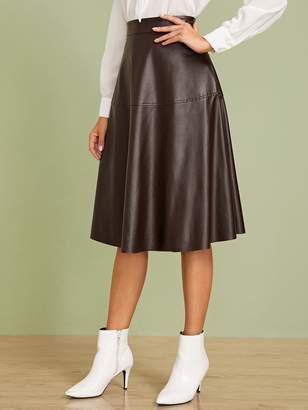 Shein Zipper Side Flare PU Skirt