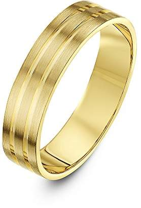 Theia 9ct Gold Gold - Super Heavy Weight Flat Shape Matt with Two Polished Grooves 5mm Wedding Ring - Size I