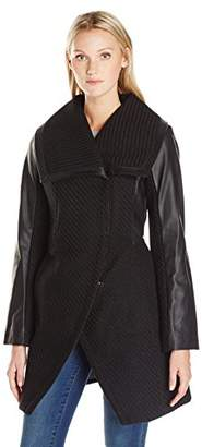 Betsey Johnson Women's Basket Weave Wool Coat with Pu Sleeve $48.14 thestylecure.com