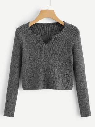Shein v Cut Neck Ribbed Crop Sweater