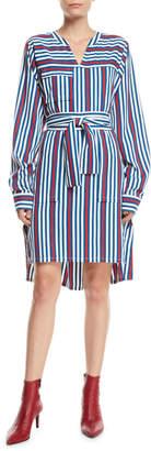 Derek Lam Long-Sleeve Belted Striped Shirtdress