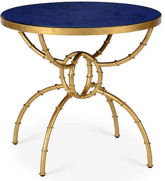 Chelsea House Irving Round Bamboo Side Table - Blue