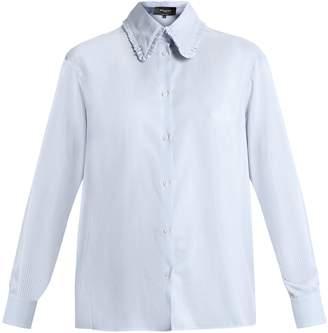 ROCHAS Ruffled-collar striped silk shirt $614 thestylecure.com