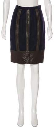 Proenza Schouler Leather-Trimmed Knee-Length Skirt Blue Leather-Trimmed Knee-Length Skirt