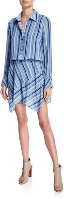 Ramy Brook Brandi Striped Button-Front Long-Sleeve Silk Dress