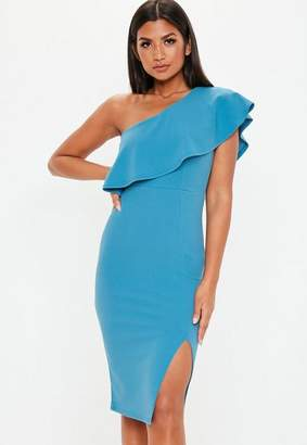 Missguided One Shoulder Frill Midi Dress