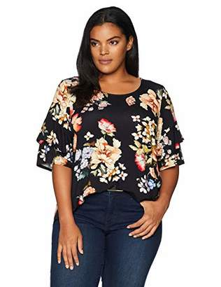 Karen Kane Women's Plus Size Ruffle Sleeve TOP