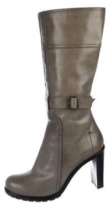 CNC Costume National Leather Round-Toe Knee-High Mid-Calf Boots