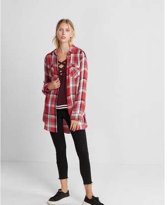 Express red and black plaid button front tunic