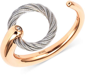 Charriol White Topaz Accent Two-Tone Circle Cuff Ring in Stainless Steel and Rose Gold-Tone PVD Stainless Steel