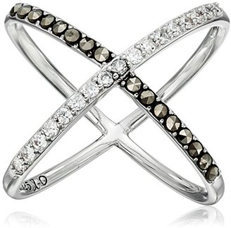 "Judith Jack ""Classics"" Sterling Silver/Swarovski Crystal and Marcasite X Ring, Size 7 $98 thestylecure.com"