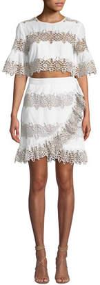 Saylor Geri Striped Dress w/ Two-Piece Illusion