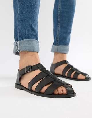 Asos Design DESIGN Fisherman Sandals In Black