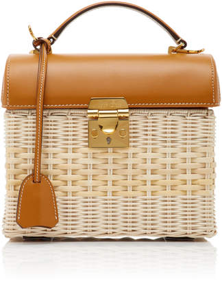 Mark Cross Sara Leather-Trimmed Rattan Bag