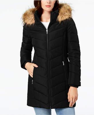 cf5e1e42 Tommy Hilfiger Faux-Fur-Trim Hooded Chevron Puffer Coat