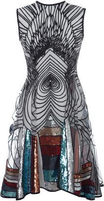 Hussein Bazaza Graphic Multi Color Mini Dress