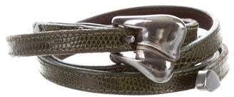 Kieselstein-Cord Lizard Skinny Waist Belt