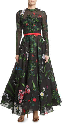 Oscar de la Renta Long-Sleeve Belted Floral-Embroidered Fit-and-Flare Mesh Evening Gown