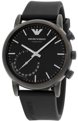 Emporio Armani Men's Armani Connected Black Dial Silicone Strap Watch ART3016