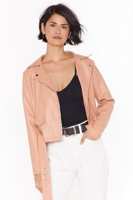 Nasty Gal Womens Love Leather Felt So Good Faux Leather Jacket - Beige - 4