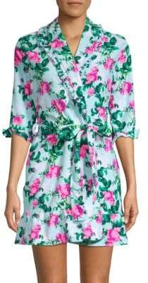 Betsey Johnson Floral Tie-Front Robe