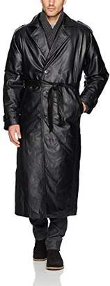 Excelled Men's Leather Trench Coat