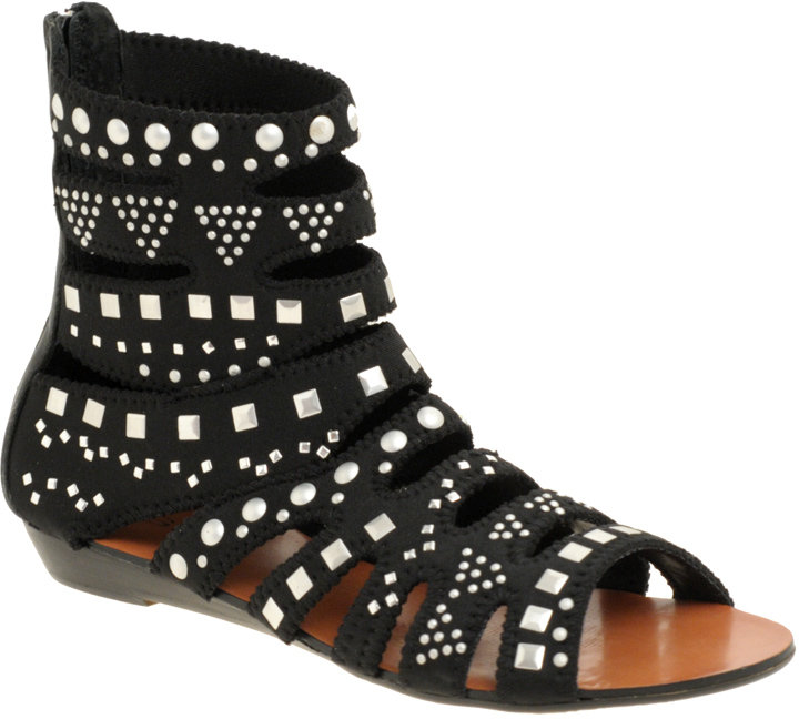 Zigi Studded Flat Neoprene Gladiator Sandals