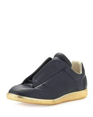 Maison Margiela Future Leather Low-Top Sneaker with Golden Sole $995 thestylecure.com