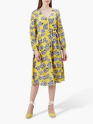 Hobbs Cara Floral Print Silk Dress, Yellow/Blue