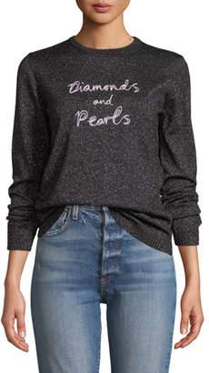 Bella Freud Diamonds & Pearls Embroidered Metallic Pullover Sweater