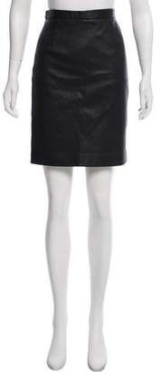 Tibi Leather Knee-Length Pencil Skirt