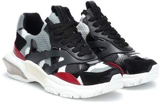 Valentino Bounce leather-trimmed sneakers
