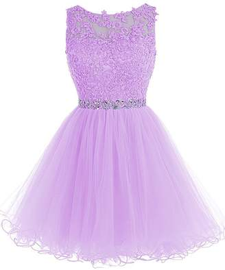 WDING Short Tulle Prom Dresses Lace Keyhole Back Party Dresses ,US