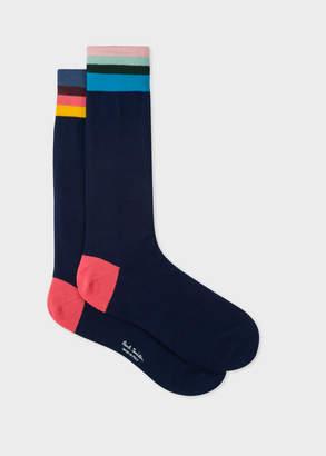 Paul Smith Men's Navy 'Artist Stripe' Cuff Socks