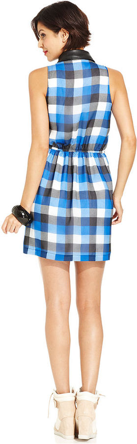 Monroe Marilyn Juniors Dress, Sleeveless Plaid-Print Faux-Leather Collar