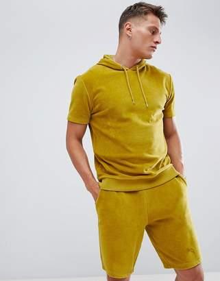 Asos Design DESIGN two-piece short sleeve velour hoodie in green