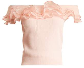 Alexander McQueen Ruffle Trim Off The Shoulder Top - Womens - Light Pink