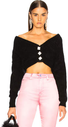 Alessandra Rich Cropped Mohair Off Shoulder Cardigan