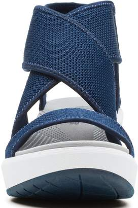 Clarks Cloudsteppers Step Cali Palm Wedge Sandals - Navy