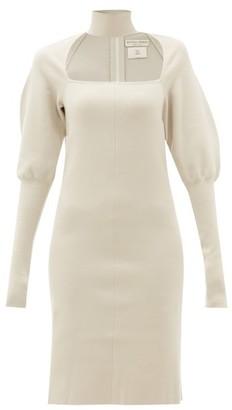 Bottega Veneta Choker Gigot Sleeve Wool Blend Dress - Womens - Cream