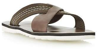 Dune Mens INKY Mixed Material Crossover Slider Sandal in Brown