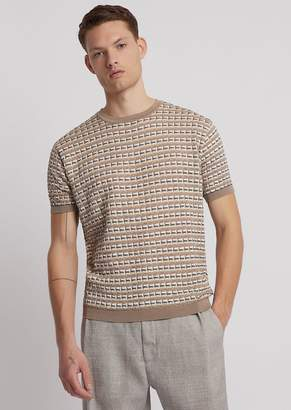 Emporio Armani Short-Sleeved Shirt In Punched, Multicolour Fabric