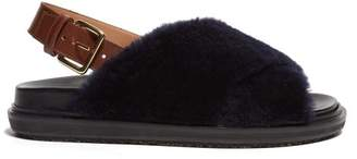 Marni Fussbett Shearling And Leather Slingback Sandals - Womens - Navy
