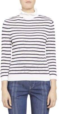 Chloé Cotton Stripe Lace T-Neck Knit Pullover