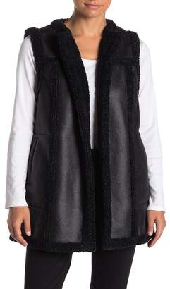 Nic+Zoe Drama Faux Shearling & Faux Leather Vest