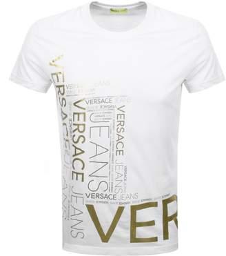 Versace Crew Neck Foil Logo T Shirt White