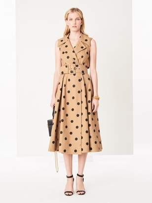 Oscar de la Renta Polka Dot Cotton-Twill Dress
