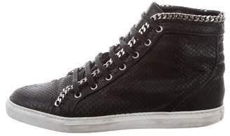 Louis Leeman Snakeskin Chain-Link Sneakers