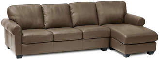 Asstd National Brand Leather Possibilities Roll-Arm 2pc. Left-Arm Sofa/Chaise Sectional